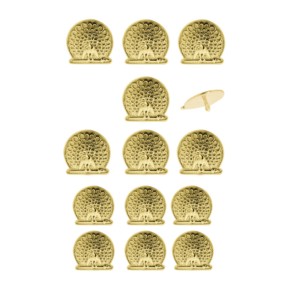 Mayo College Jewellery by KHWAISH - Mayo Buttons Set of 13 with 18K Gold Polish