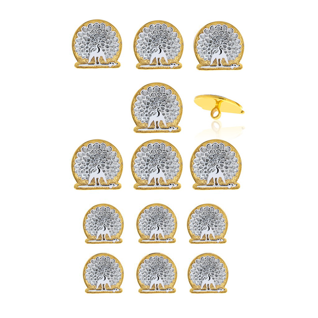 Mayo College Jewellery by KHWAISH - Mayo Buttons Silver on Gold Polish Set of 13