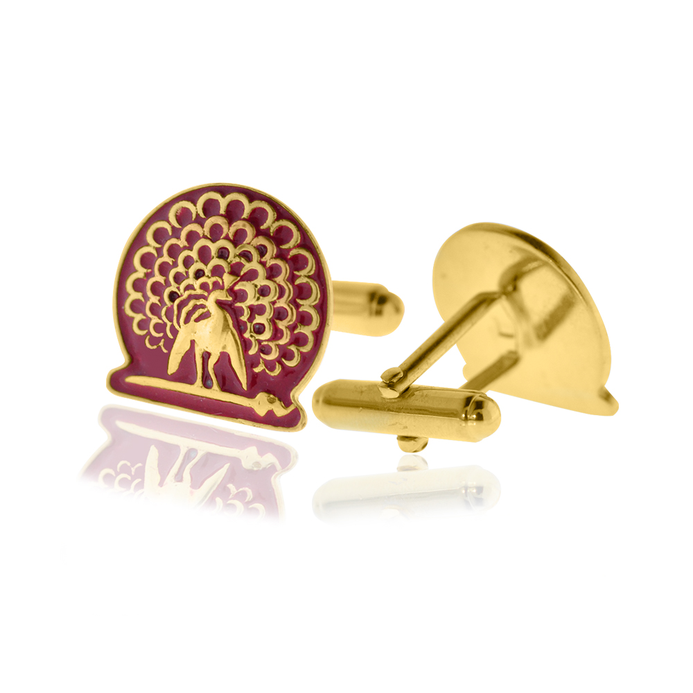 Mayo College Jewellery by KHWAISH - Mayo Cufflinks Gold Polish Red Enamel Front Back