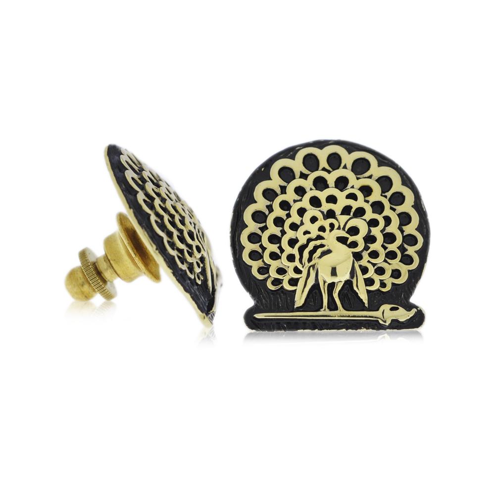 Mayo College Jewellery by KHWAISH - Mayo Lapel Pin Gold Polish Black Enamel Front Side