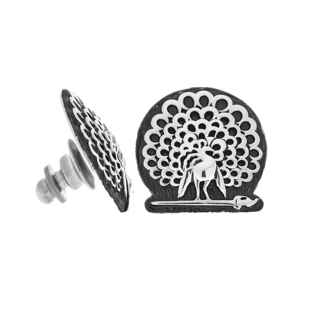 Mayo College Jewellery by KHWAISH - Mayo Lapel Pin Silver Polish Black Enamel Front Side