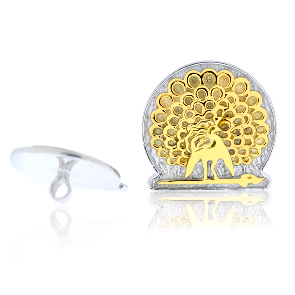 Mayo College Jewellery by KHWAISH - Mayo Buttons Gold on Silver Polish Front and Back