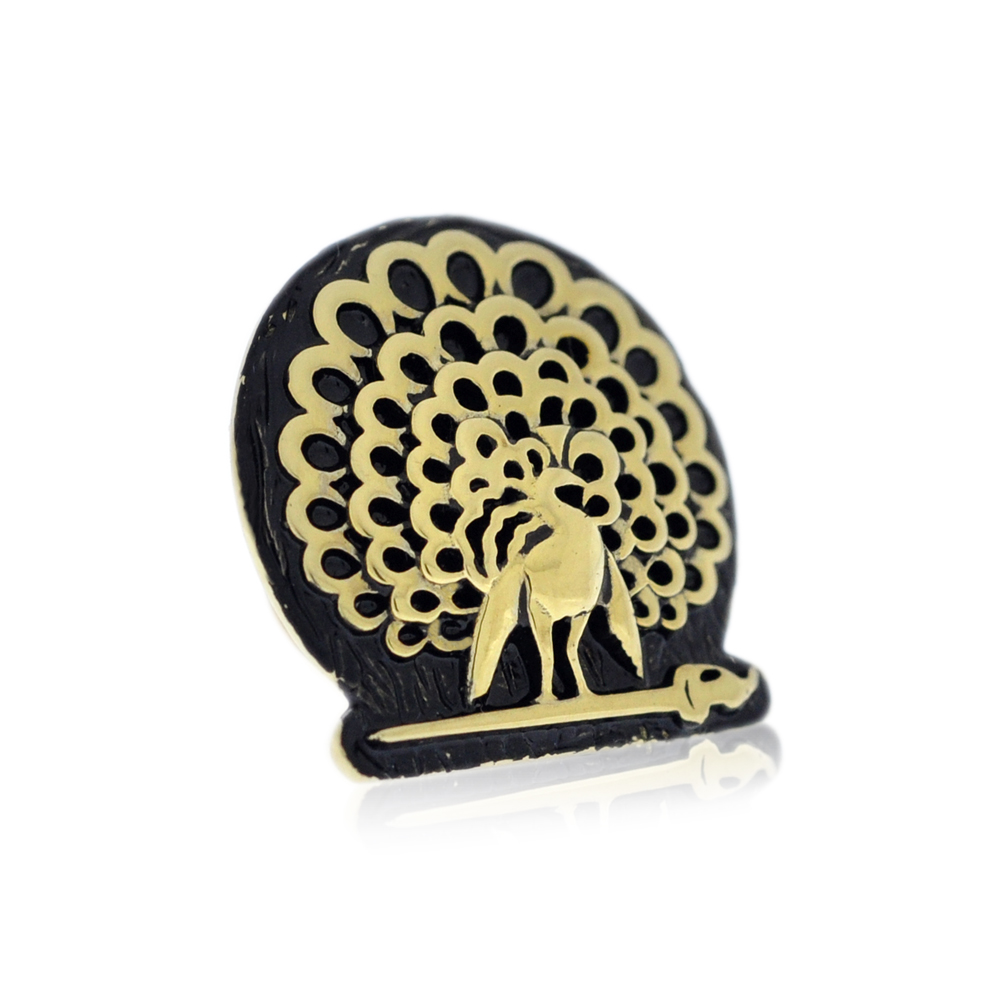 Mayo College Jewellery by KHWAISH - Mayo Lapel Pin Gold Polish Black Enamel Side 2
