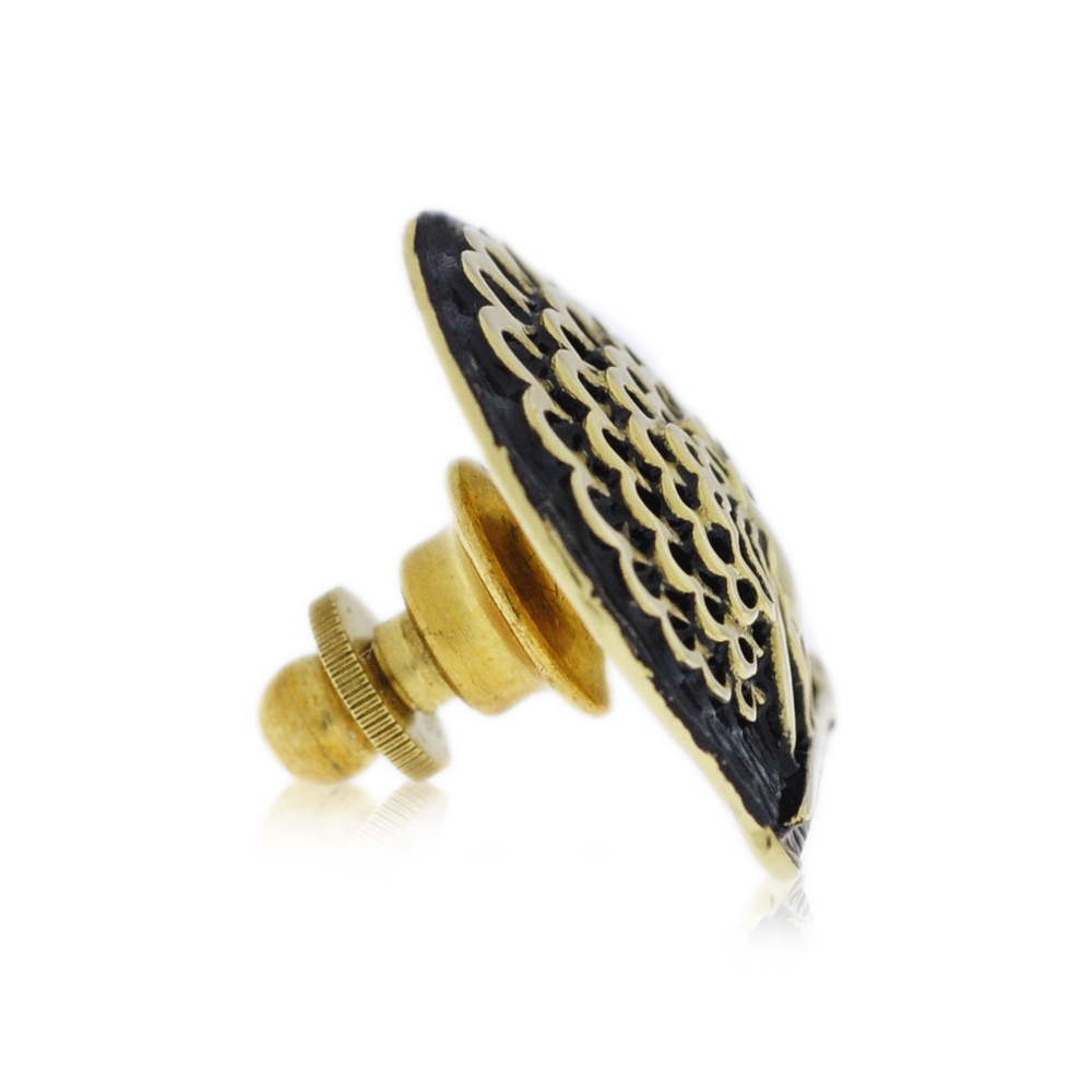 Mayo College Jewellery by KHWAISH - Mayo Lapel Pin Gold Polish Black Enamel Side