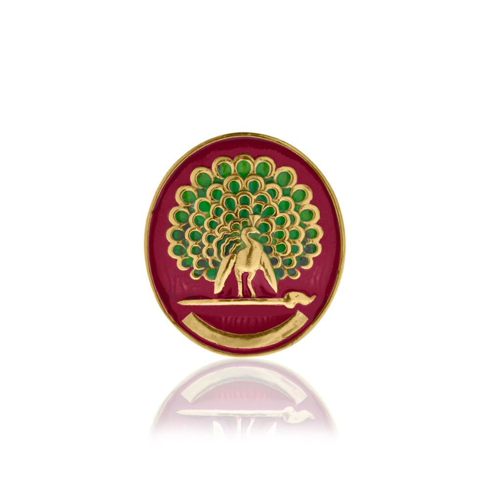 Mayo College Jewellery by KHWAISH - Mayo Monitor Badge Gold Polish with Red Enamel Front