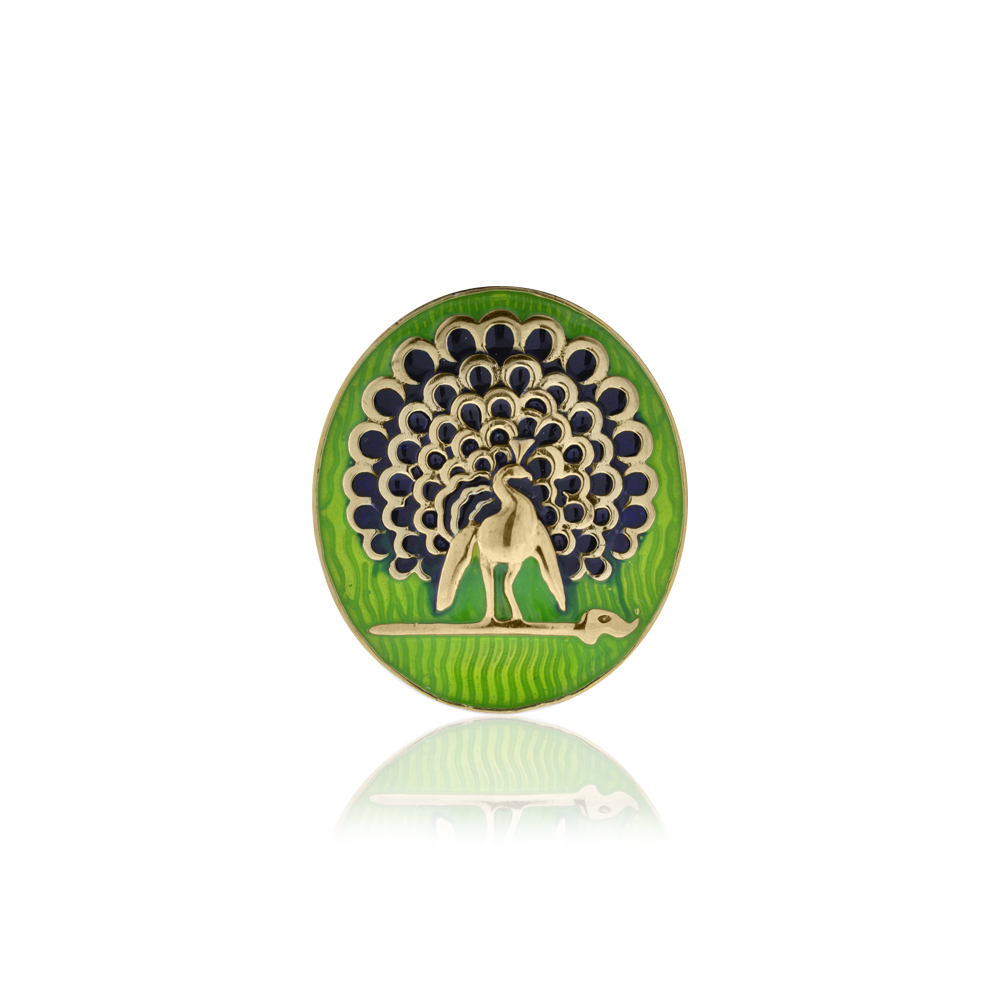 Mayo College Jewellery by KHWAISH - Mayo Brooch Gold Polish Green and Blue Enamel Front