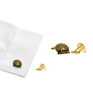 Mayo College Jewellery by KHWAISH - Mayo Cufflinks Pairs Gold Polish Black Enamel Front Cuff Look