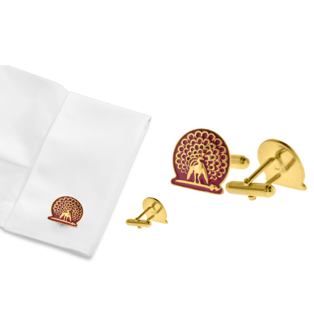 Mayo College Jewellery by KHWAISH - Mayo Cufflinks Gold Polish Red Enamel Front Cuff Look