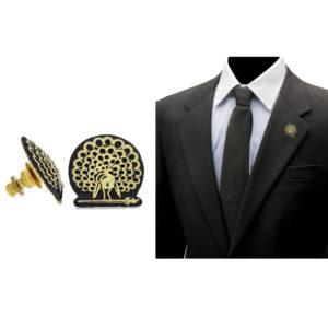 Mayo College Jewellery by KHWAISH - Mayo Lapel Pin Gold Polish Front Side Blazer