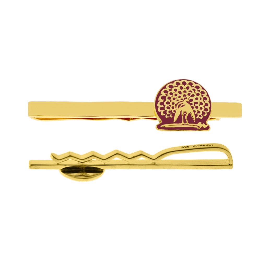 Mayo College Jewellery by KHWAISH - Mayo Tie Pin Gold Polish with Red Enamel Back and Front