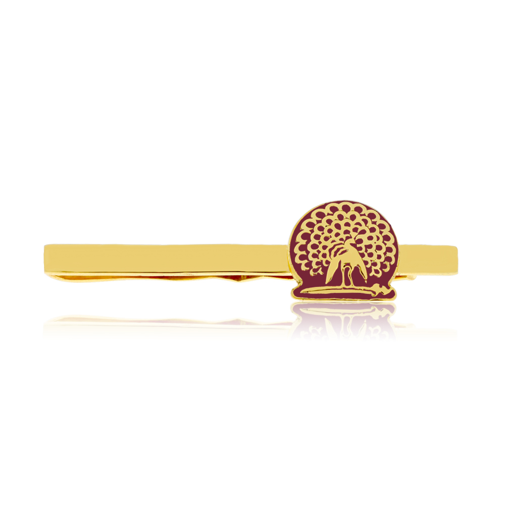 Mayo College Jewellery by KHWAISH - Mayo Tie Pin Gold Polish with Red Enamel Front