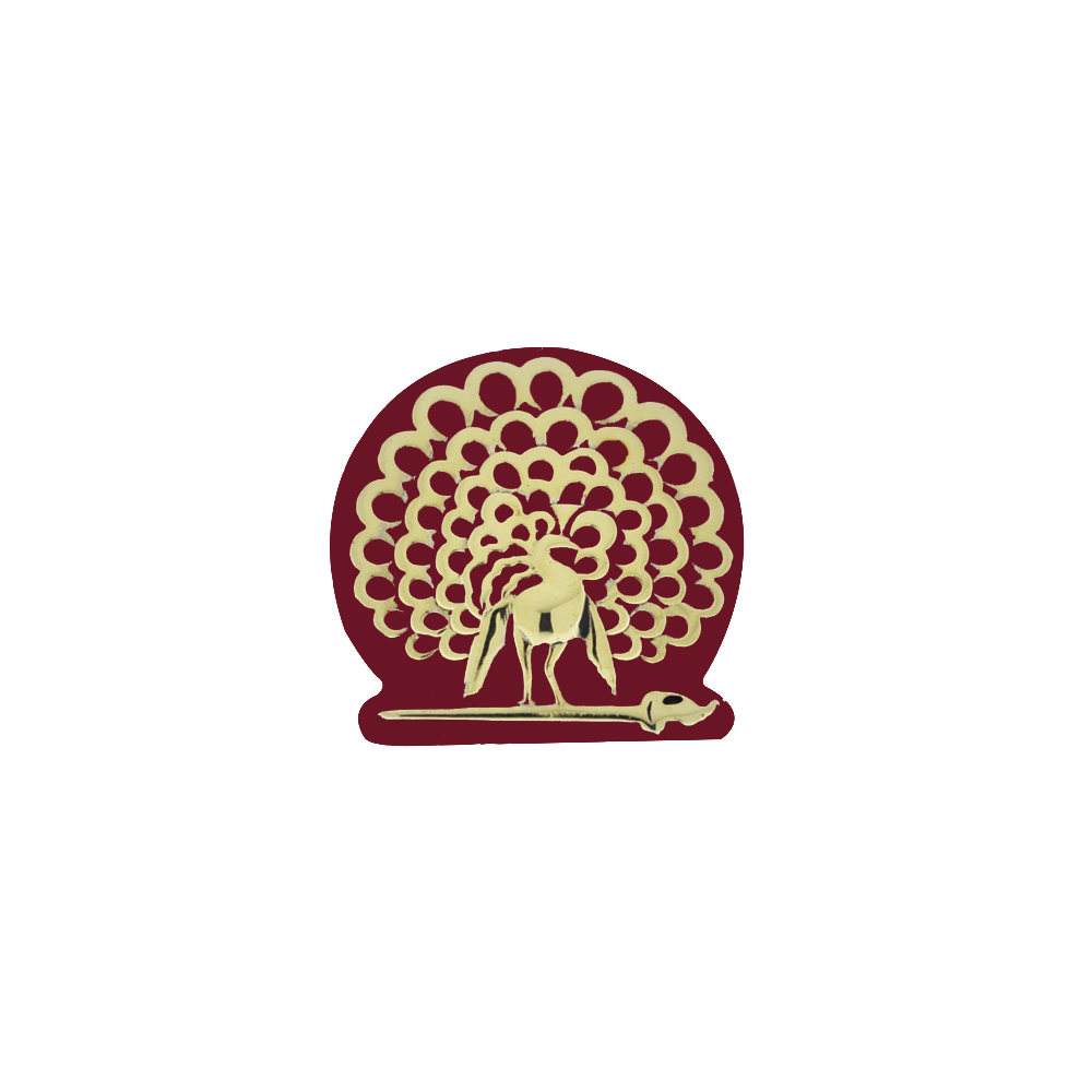 Mayo Lapel Pin with Red Enamel 18k Gold Polish front View by Khwaish Jewels
