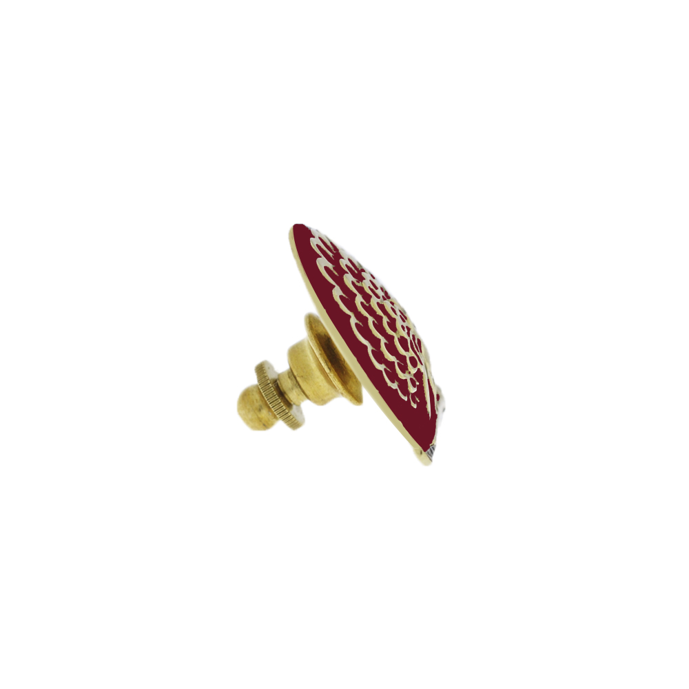 Mayo Lapel Pin with Red Enamel 18k Gold Polish Side View by Khwaish Jewels
