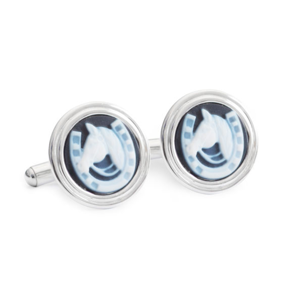 Black Horse Shoe Cufflinks by Khwaish Jewels